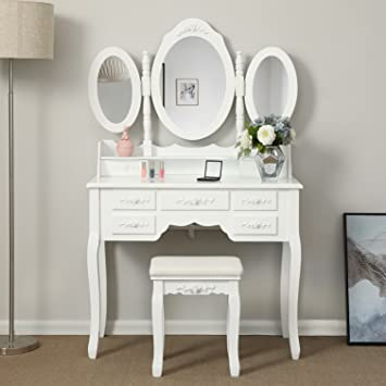 Songmics Blanc Coiffeuse Table De Maquillage Grand Commode Avec 3