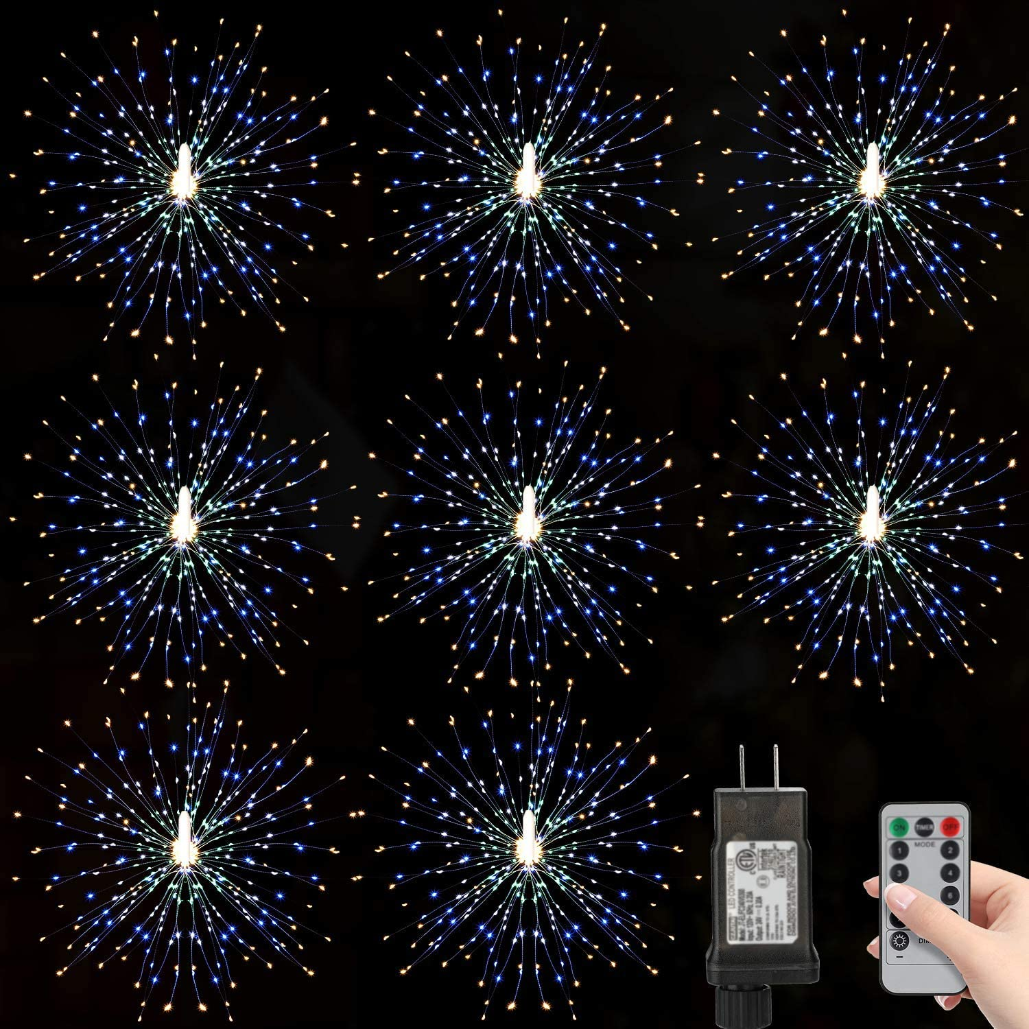 Arbnic 8 Pack 180 Led Firework Lights Starburst Light with Remote, Copper Wire Lights 8 Modes Waterproof Decorative Lights for Terrace, Garden, Party, Outdoor, Christmas