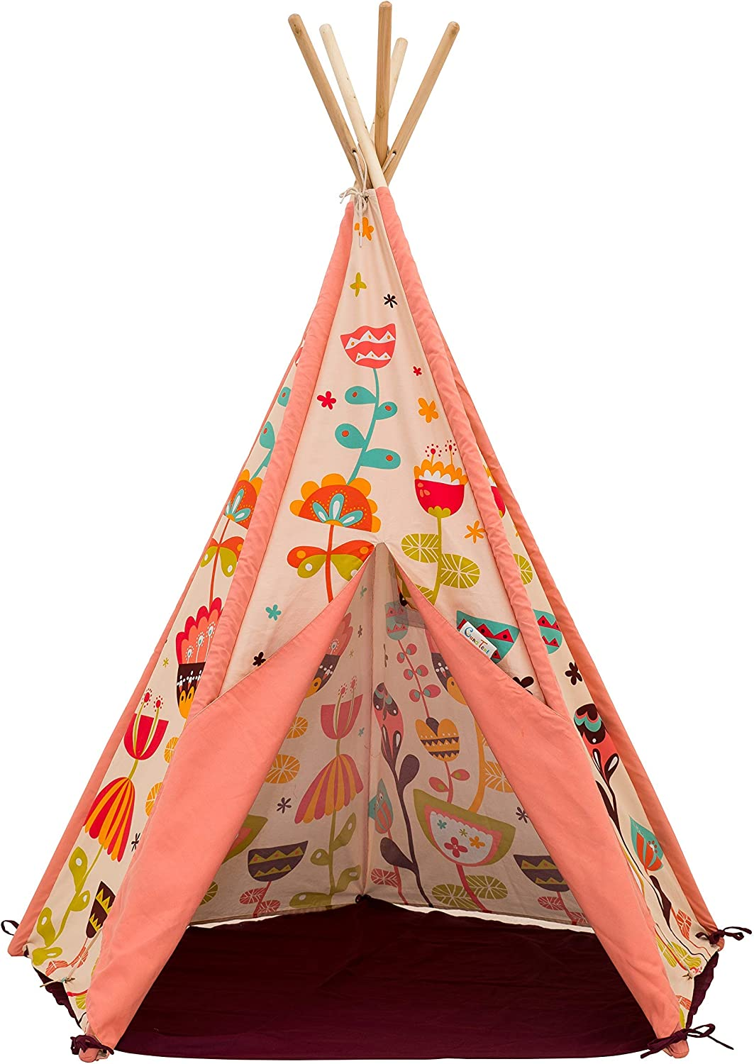 """SagePole Teepee Play Tent with Floor Mat and Solid Pine Poles, 59"""" x 51"""", Sweet Garden"""