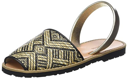 Womens Avarca Raffia Negro Open Toe Sandals Minorquines vHH7IcBz