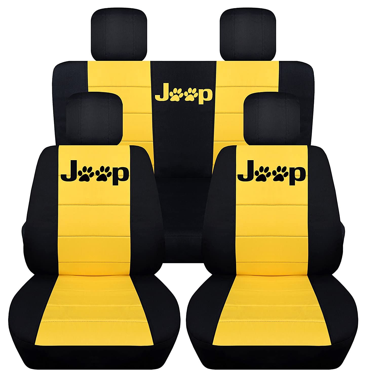Fits 2010 to 2017 Jeep Compass and Patriot Jeep Paw Prints Seat Covers 22 Color Options Front Side Airbags 40-60 Top Split, Black Tan