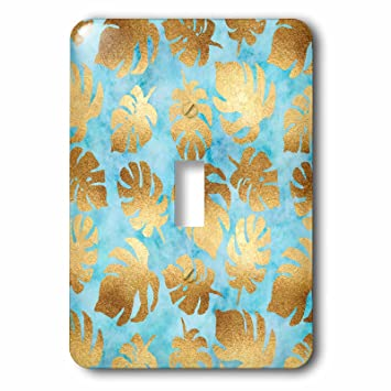 3drose Ps Chic Image Of Gold Aqua Watercolor Tropical Leaves
