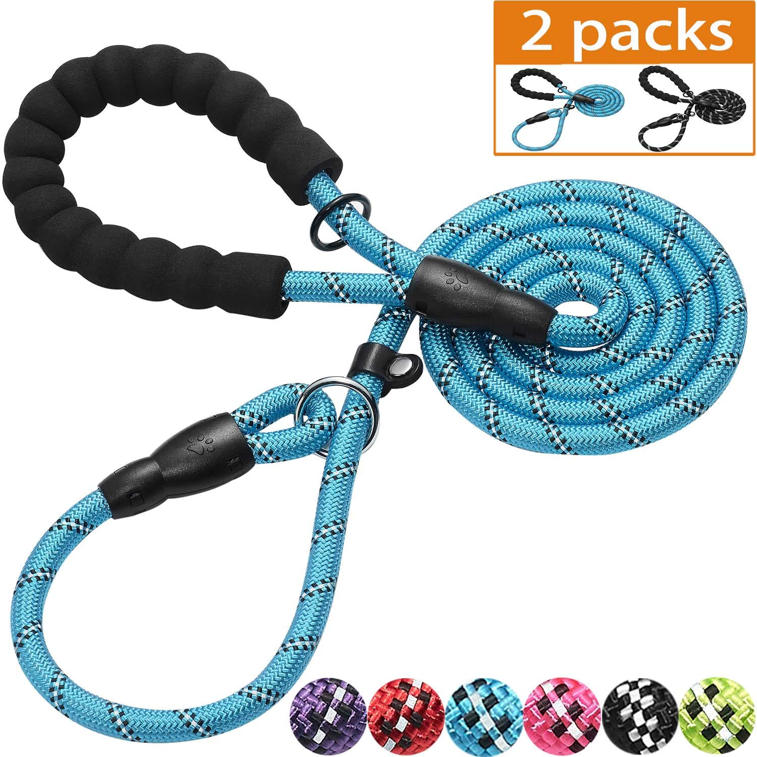 Haapaw Slip Lead Dog Leash with Comfortable Padded Handle Reflective, Mountain Climbing Rope Dog Training Leashes for Large Medium Small Dogs(2 Packs, 6 FT) (Slip Leash, Black/Blue)