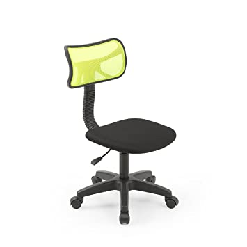 Hodedah Mesh Armless Task Chair With Adjustable Height And Swivel  Functionality, Green