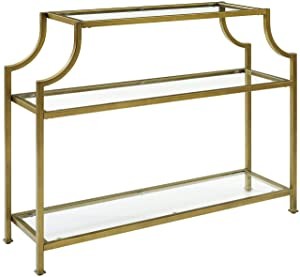 Crosley Furniture Aimee Console Table, Gold and Glass