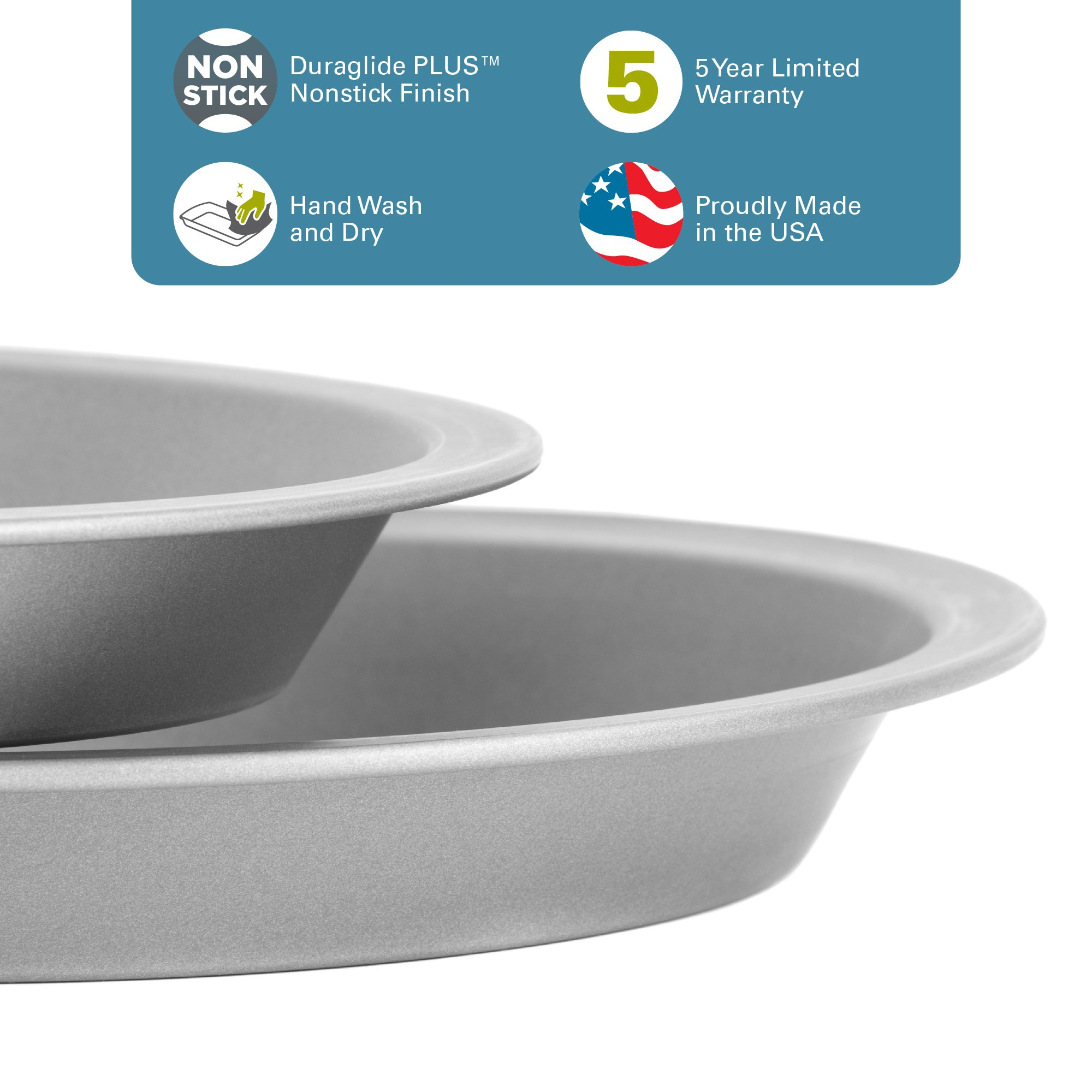 """OvenStuff Non-Stick 9"""" Pie Pans, Set of Two - American-Made, Non-Stick Pie Baking Pan Set, Easy to Clean by G & S Metal Products Company (Image #3)"""