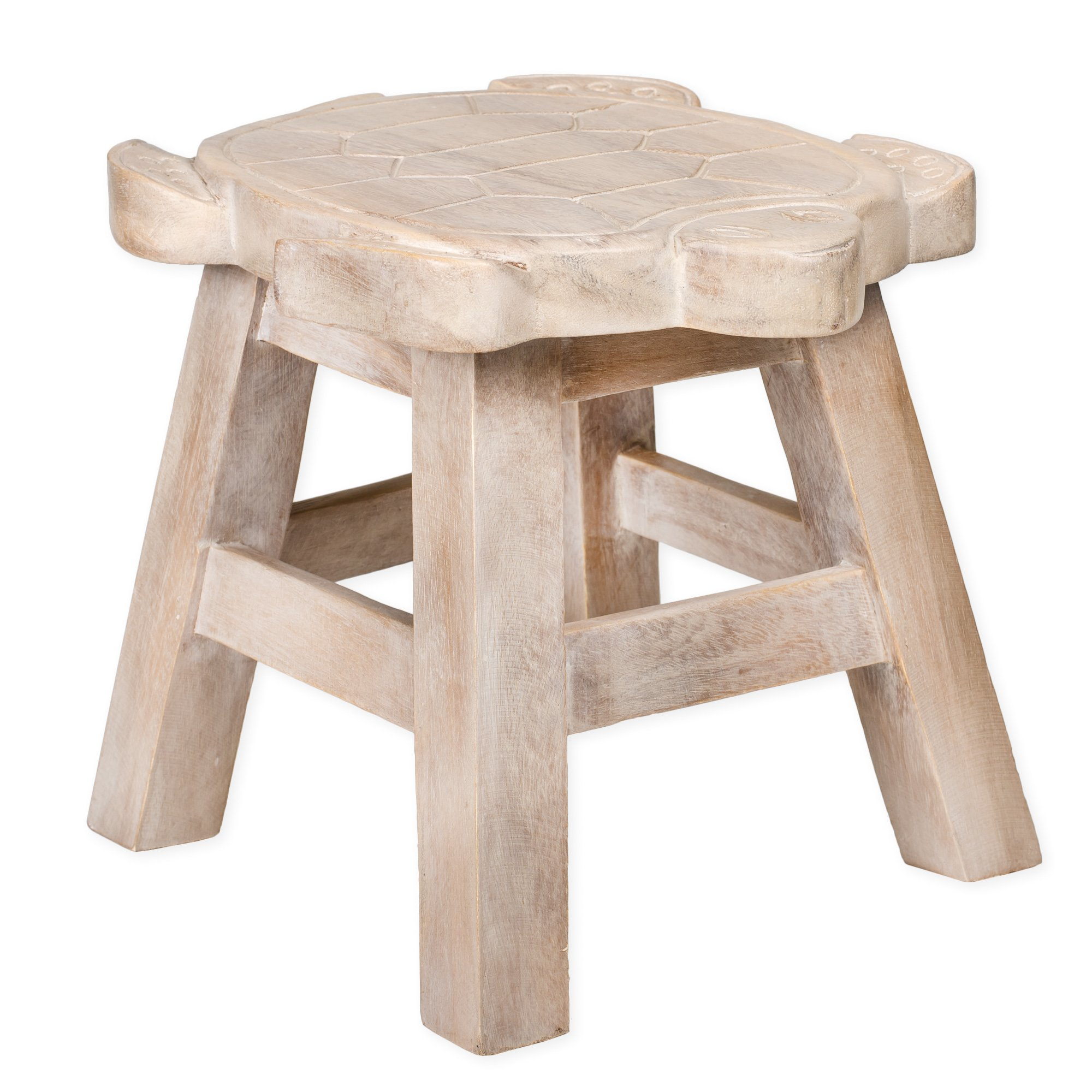 Turtle Whitewash Design Hand Carved Acacia Hardwood Decorative Short Stool