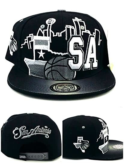 finest selection a9672 5a768 Image Unavailable. Image not available for. Color  San Antonio New  Basketball TX Leader Spurs Colors Black Gray Era Snapback Hat Cap