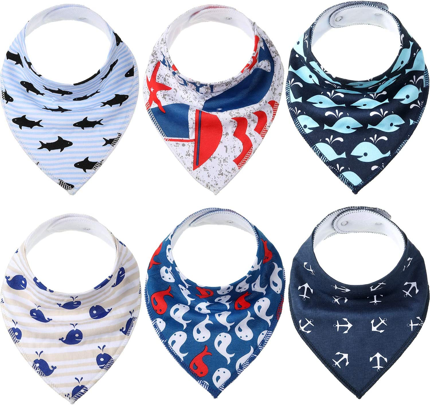 SATINIOR 6 Pieces Funny Pet Bandanas Navigation Style Dog Triangle Scarf Bibs Cat Puppy Bandana for Small Pets Accessories