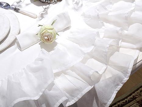 Nappe /à Volant Shabby Chic et Romantique 100/% Coton Trois Volants Blanc Couvre Table 170x240 AT17 Nappe de Table