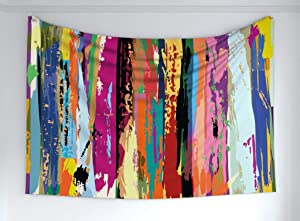 "Ambesonne Abstract Tapestry, Multicolored Expressionist Work of Art Vibrant Rainbow Design Tainted Pattern, Fabric Wall Hanging Decor for Bedroom Living Room Dorm, 60"" X 40"", Rainbow Color"