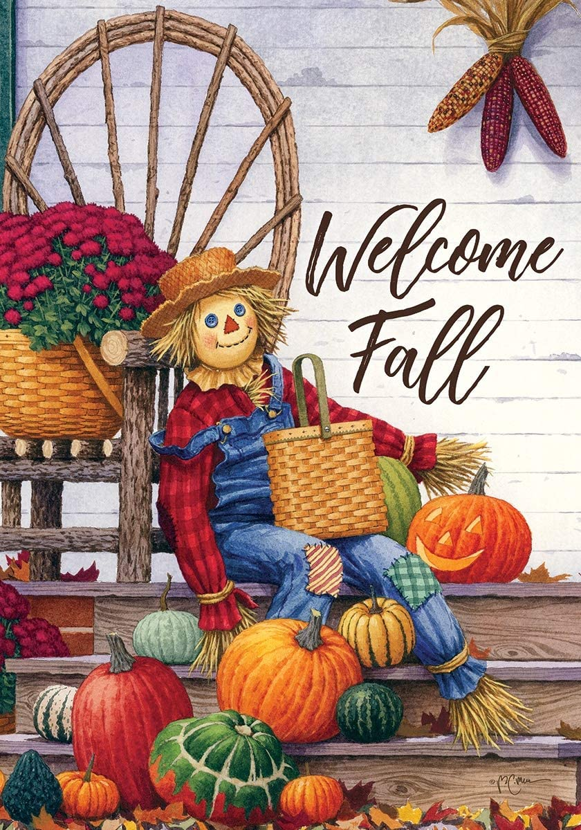 Custom Decor Fall Scarecrow Porch - Standard Size, Decorative Double Sided, Licensed and Copyrighted Flag - Printed in The USA Inc. - 28 Inch X 40 Inch Approx. Size