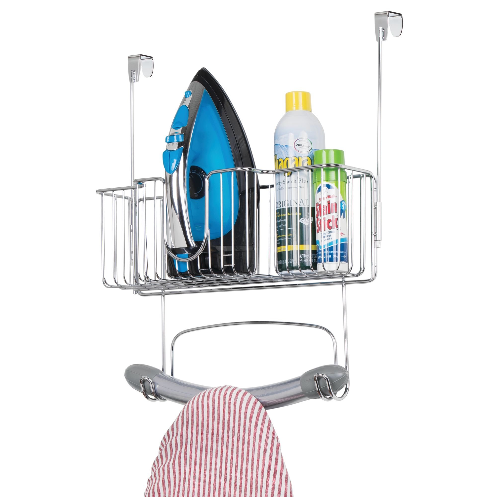 mDesign Over Door Hangin Ironing Board Holder with Large Storage Basket - Holds Iron, Board, Spray Bottles, Starch, Fabric Refresher for Laundry Rooms - Durable Steel, Chrome