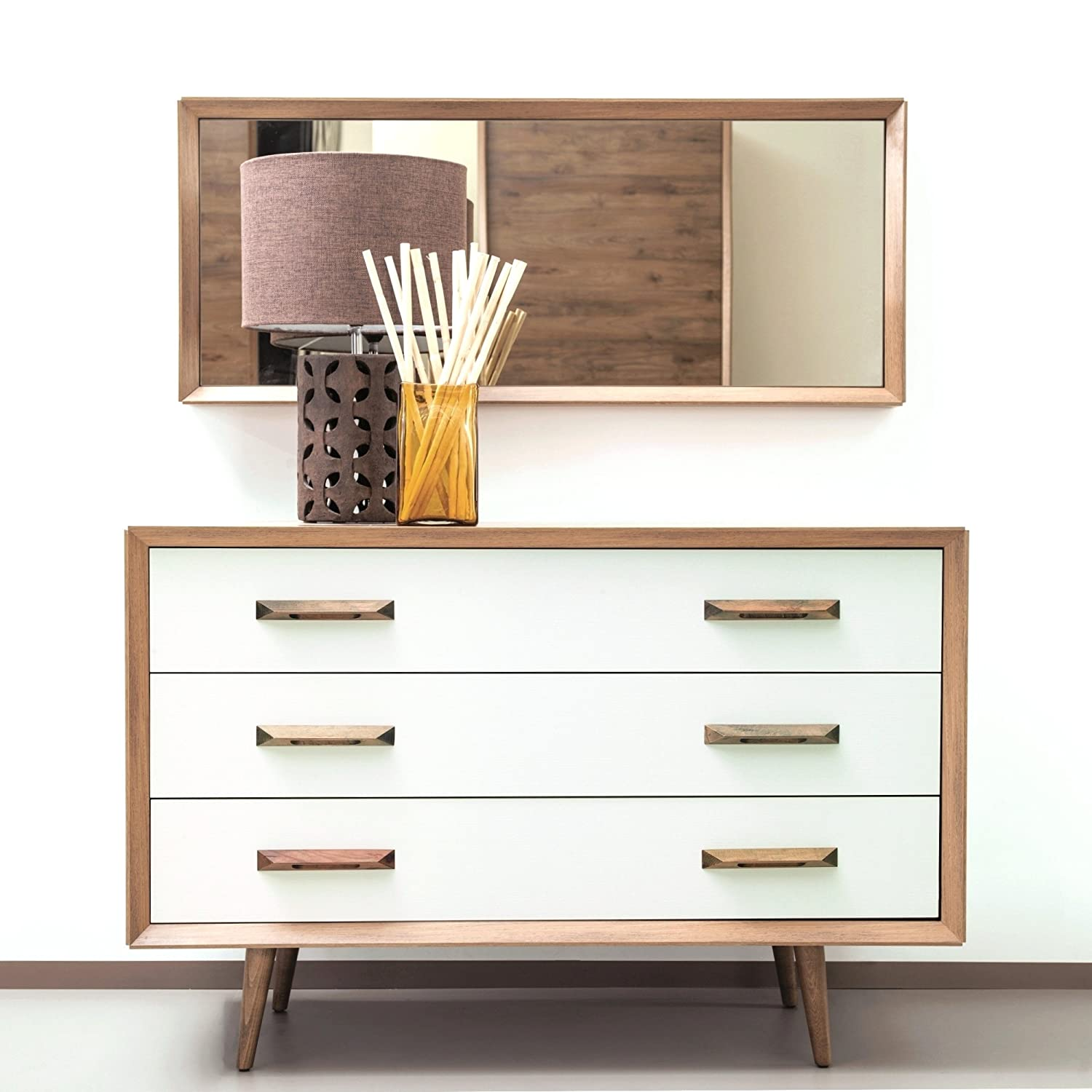 Adam and Illy Alto Chest Of Drawers W/Mirror, Sherwood Oak/Moonstone