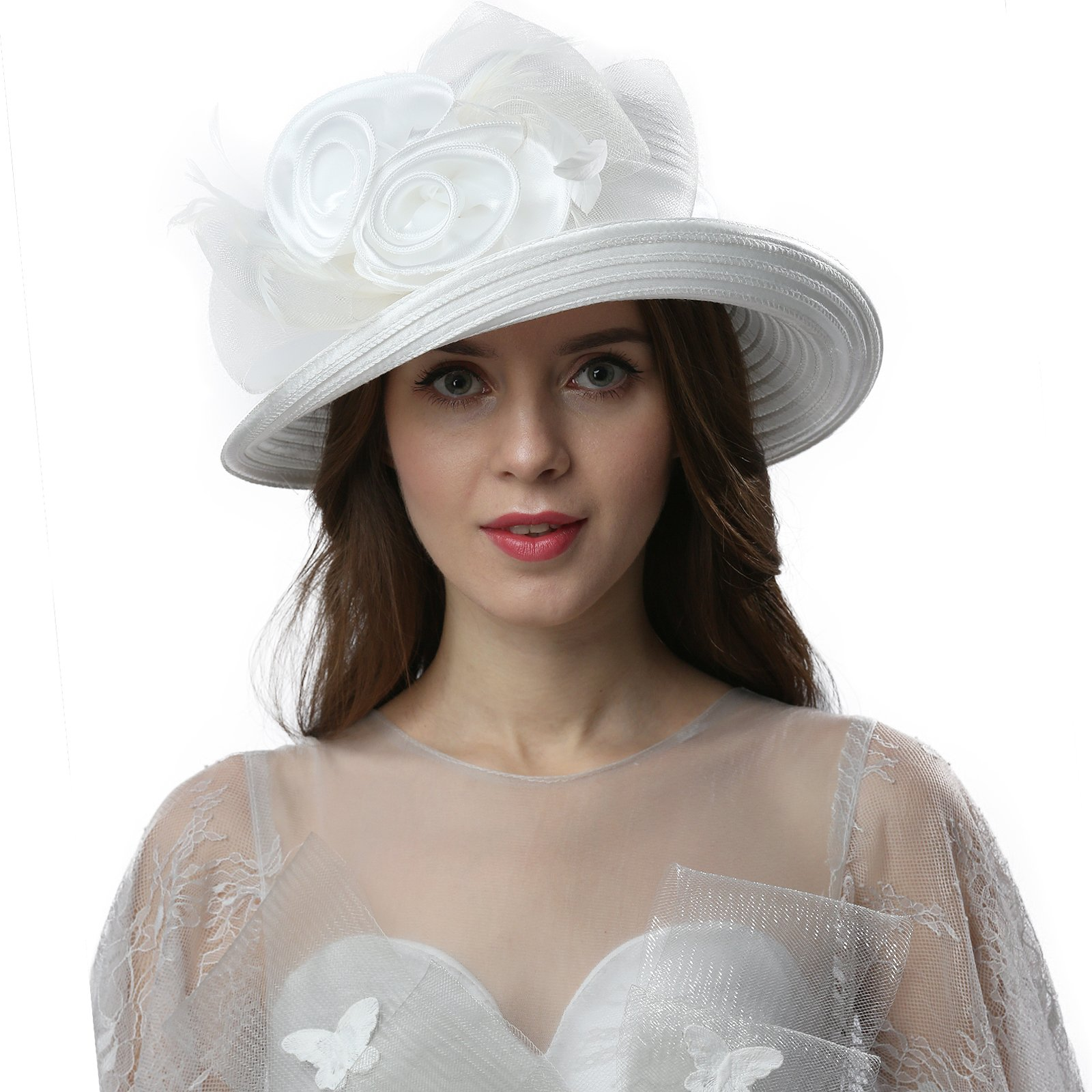Janey&Rubbins Women Vintage Organza Kentucky Derby Church Cloche Bucket Hat (White)