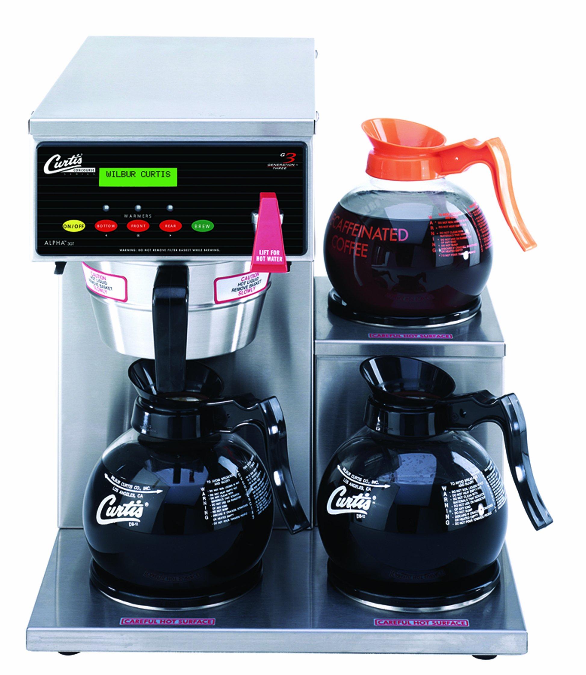 Wilbur Curtis G3 Alpha Decanter Brewer 64 Oz Coffee Brewer, 3 Station, 3 Lower Right Warmer - Commercial Coffee Brewer  - ALP3GTR12A000 (Each)