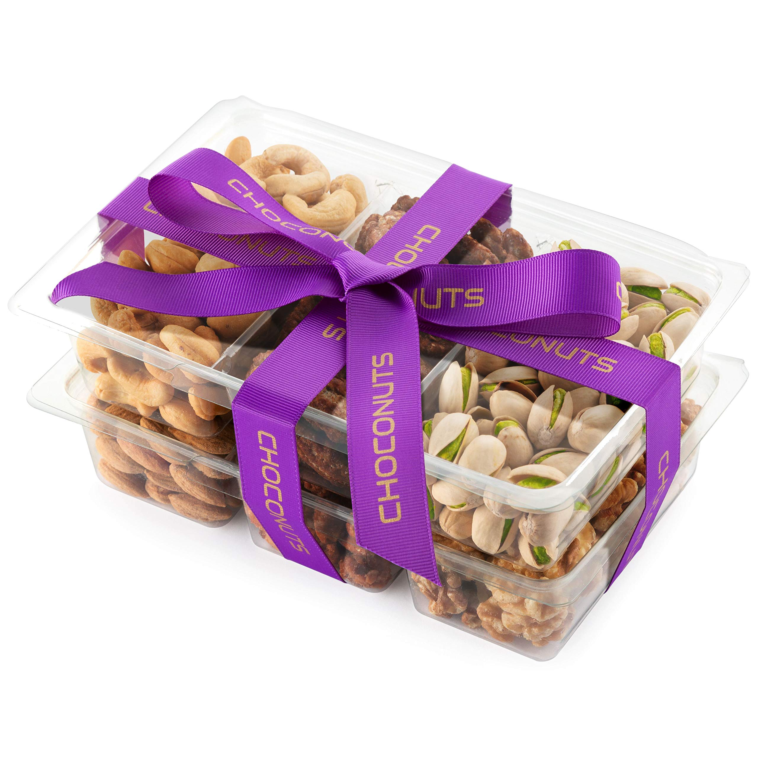 Choconuts Assorted Fresh Roasted Nut Gift Basket, Six Sectional Nut Tray, Great All Time Healthy Gift Box for Fathers Day, Mothers Day, Get Well Gift, Sympathy Basket, Hostess Gift, Just Because Gift