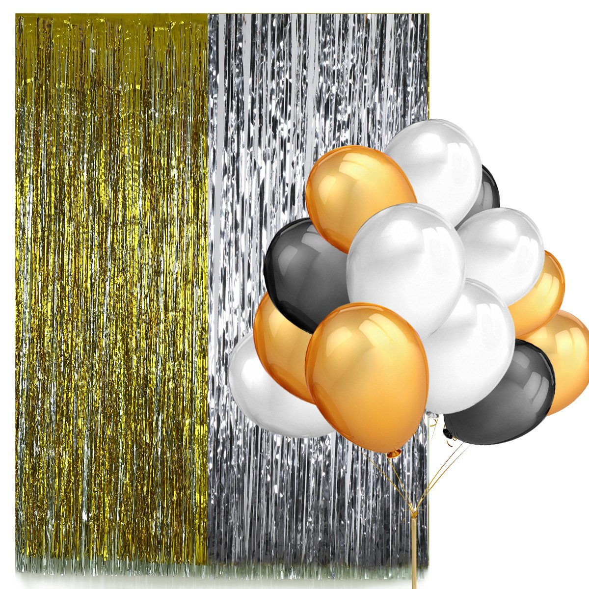Photo Booth Party Backdrop Decorations Kit ,2 Pack Gold Sliver Fringe Curtains and 100 Pack 12 \'\' Latex Party Balloons(Gold, Black and White Color)