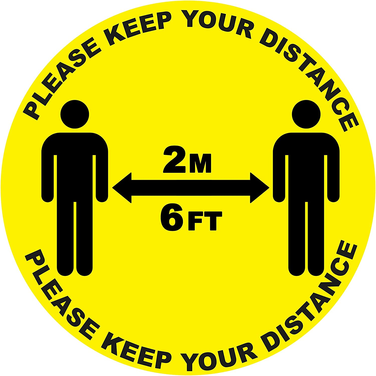 2 x please keep your distance SC-20 15cm x 15cm - social distancing landscape floor safety sign self adhesive vinyl weather proof label sticker