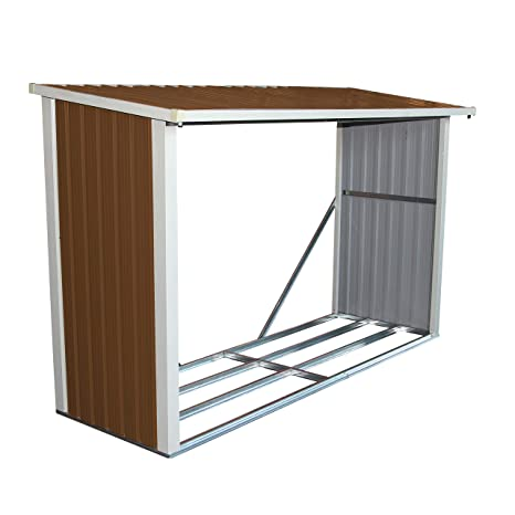 Bentley - Cobertizo de jardín para guardar madera - Metal - 242 x 89 cm
