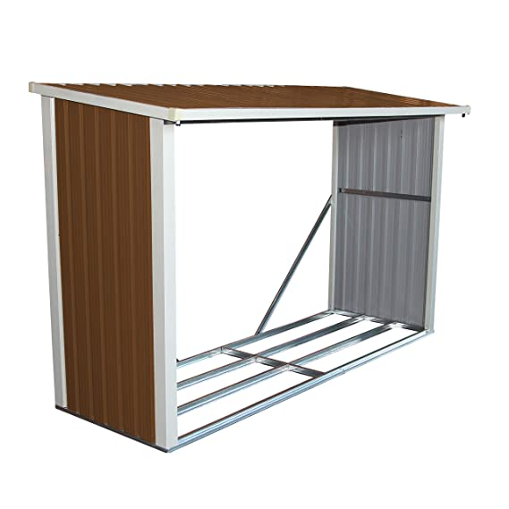 Bentley - Cobertizo de jardín para guardar madera - Metal - 242 x 89 cm: Amazon.es: Jardín