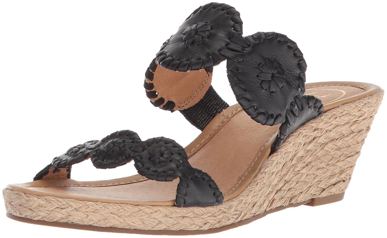 Jack Rogers Women's Shelby Wedge Sandal B075QSCM41 7 B(M) US|Black/Black