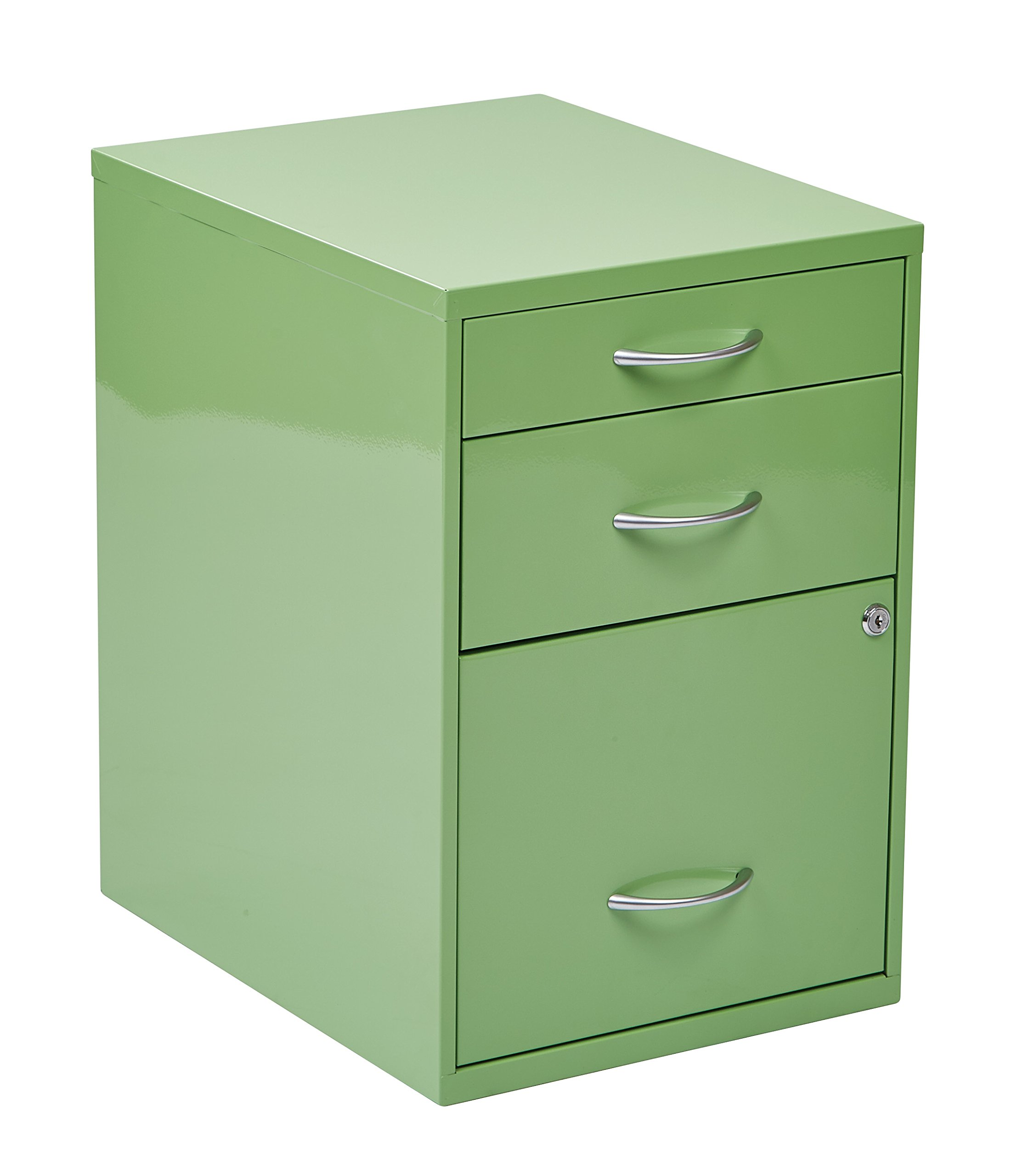 Office Star 3-Drawer Metal File Cabinet, Green Finish