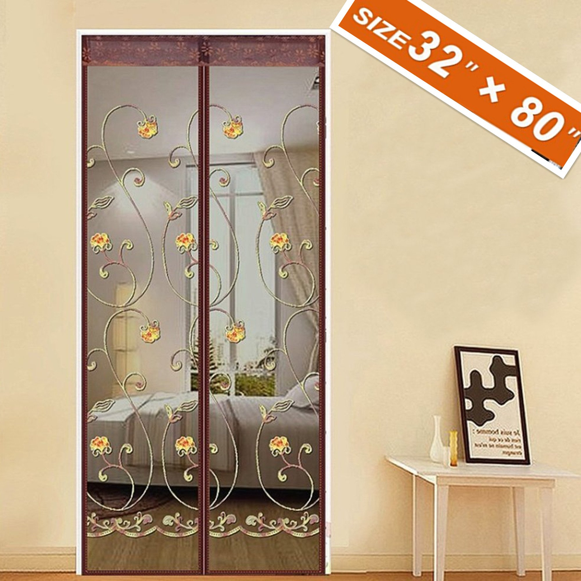 Spritech Embroider Flower Style Screen Door,French Door Magnets 32 X 80 Fit Doors Size Up to 30'' W X 79'' H Max with Full Frame Velcro Exterior Back Screen Door Keep Fly Mosquito Bug Out
