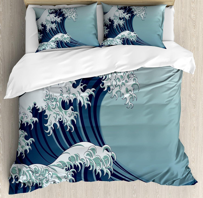 Gentil Lunarable Wave Duvet Cover Set King Size, Japanese Motif Vintage Style  Drawing Asian Culture Inspirations Oriental, Decorative 3 Piece Bedding Set  With 2 ...