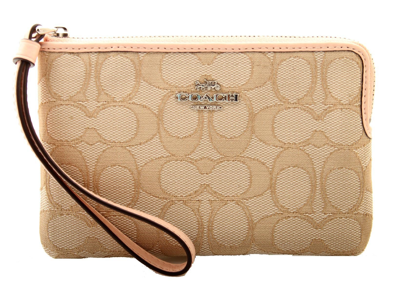 COACH Corner Zip Wristlet In Outline Signature