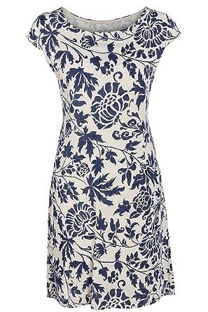 GS-Fashion Leinenkleid Damen Sommer mit Blumen Kleid ärmellos Knielang   Amazon.de  Bekleidung 364b0a0f97