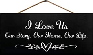 JennyGems I Love Us Our Story Our Home Our Life | Farmhouse Modern Decor | Home Accents | Genuine Wood Sign | Made in USA