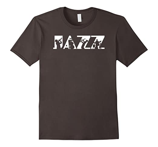 Mens Jazz Logotype and Musicians Silhouettes 2XL Asphalt