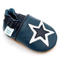 Dotty Fish - Chaussures Cuir Souple bébé et Bambin – Garçons et Filles - Bleu Marine, Gris et Marron - 0-6 Mois - 3-4 Ans