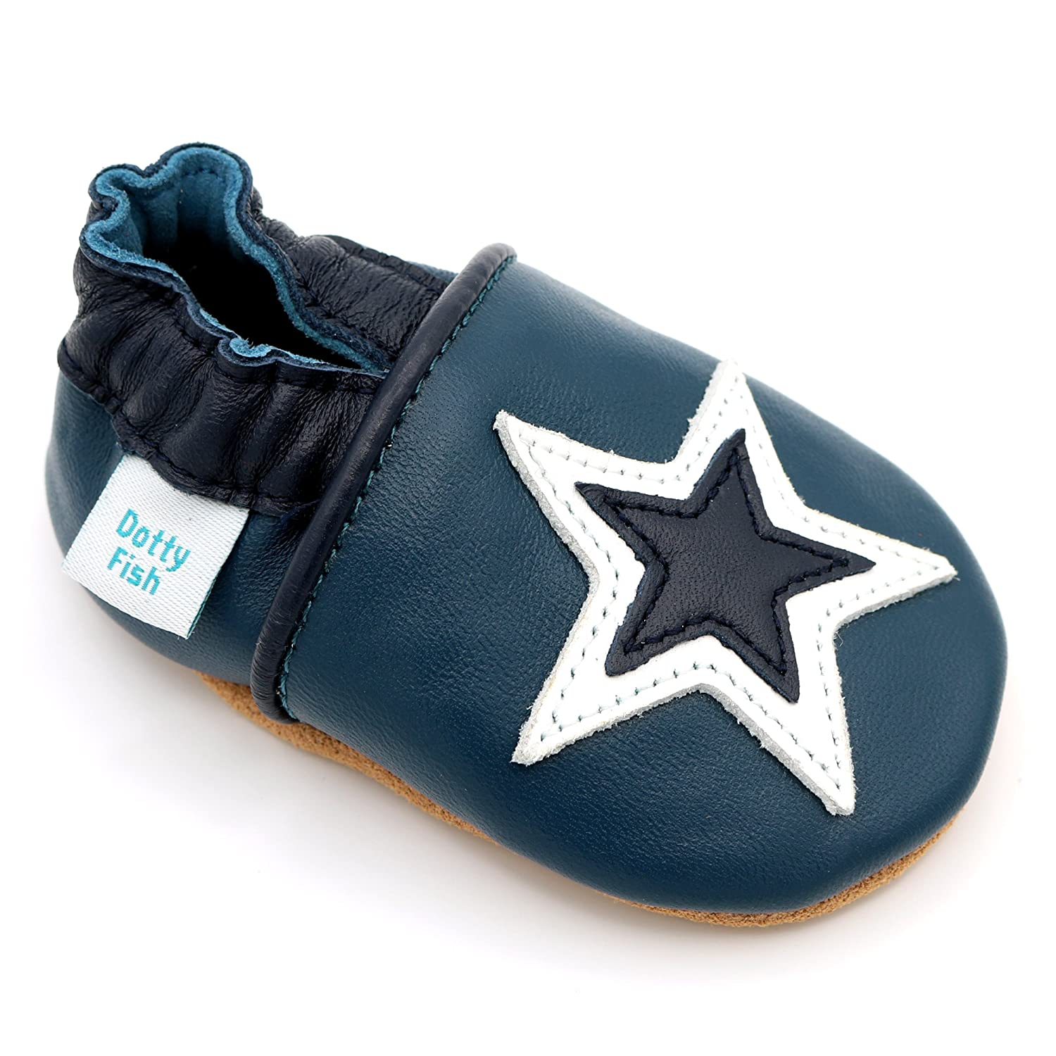 d0143756d0c58 Dotty Fish Soft Leather Baby Shoes. 0-6 Months to 4-5 Years. Boys and Girls  with Navy Blue, Pink and Grey Stars. Non Slip. Toddler Shoes.