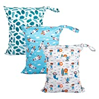 Babygoal Wet Dry Bags for Baby Cloth Diapers, Washable Travel Bags, Beach, Pool, Gym Bag for Swimsuits & Wet Clothes with Two Zippered Pockets 3 Pack, 3LN12