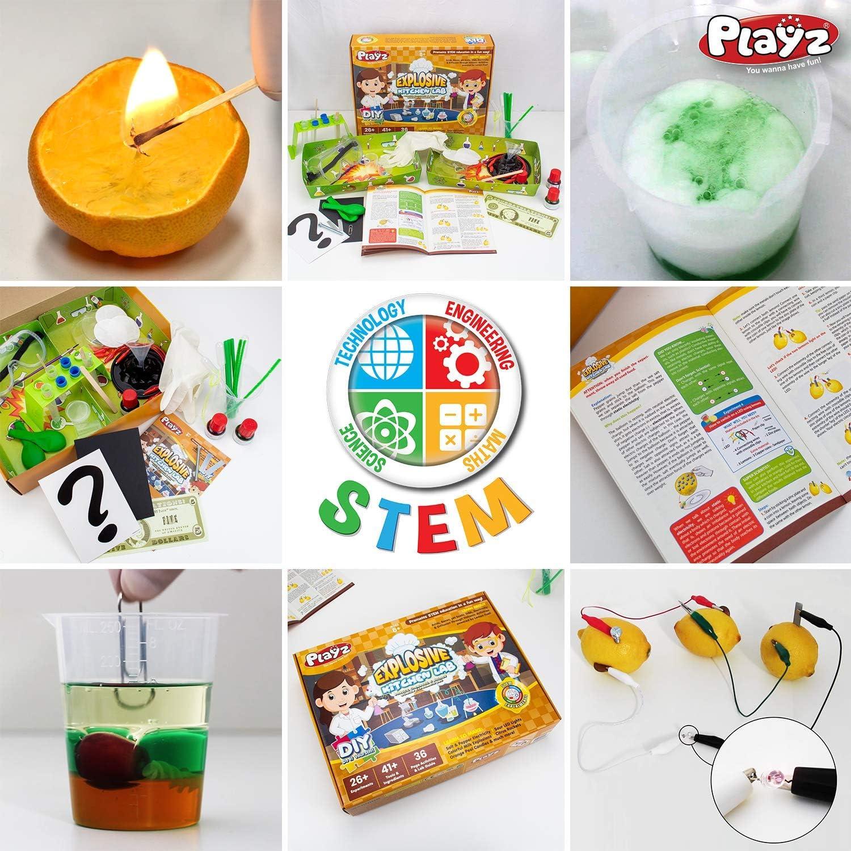 Chemistry /& Biology Science Experiments Set Sour LED Lights Colorful Milk Explosions Playz Explosive Kitchen Lab 26+ Physics /& Orange Peel Candles Citrus Rockets Make Salt /& Pepper Electricity