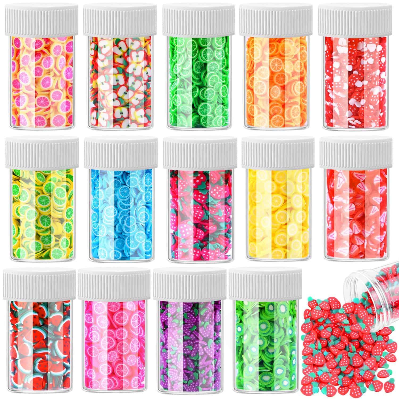Acejoz 12000 Pcs Fruit Nail Art Slices 3D Polymer Slices Resin Charms Fruit Slices for Nail Art, Slime and Lip Gloss, 15 Styles