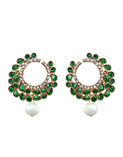 Zaveri Pearls Pearl Dangle & Drop Earring For Women Green - Zpfk836 at amazon
