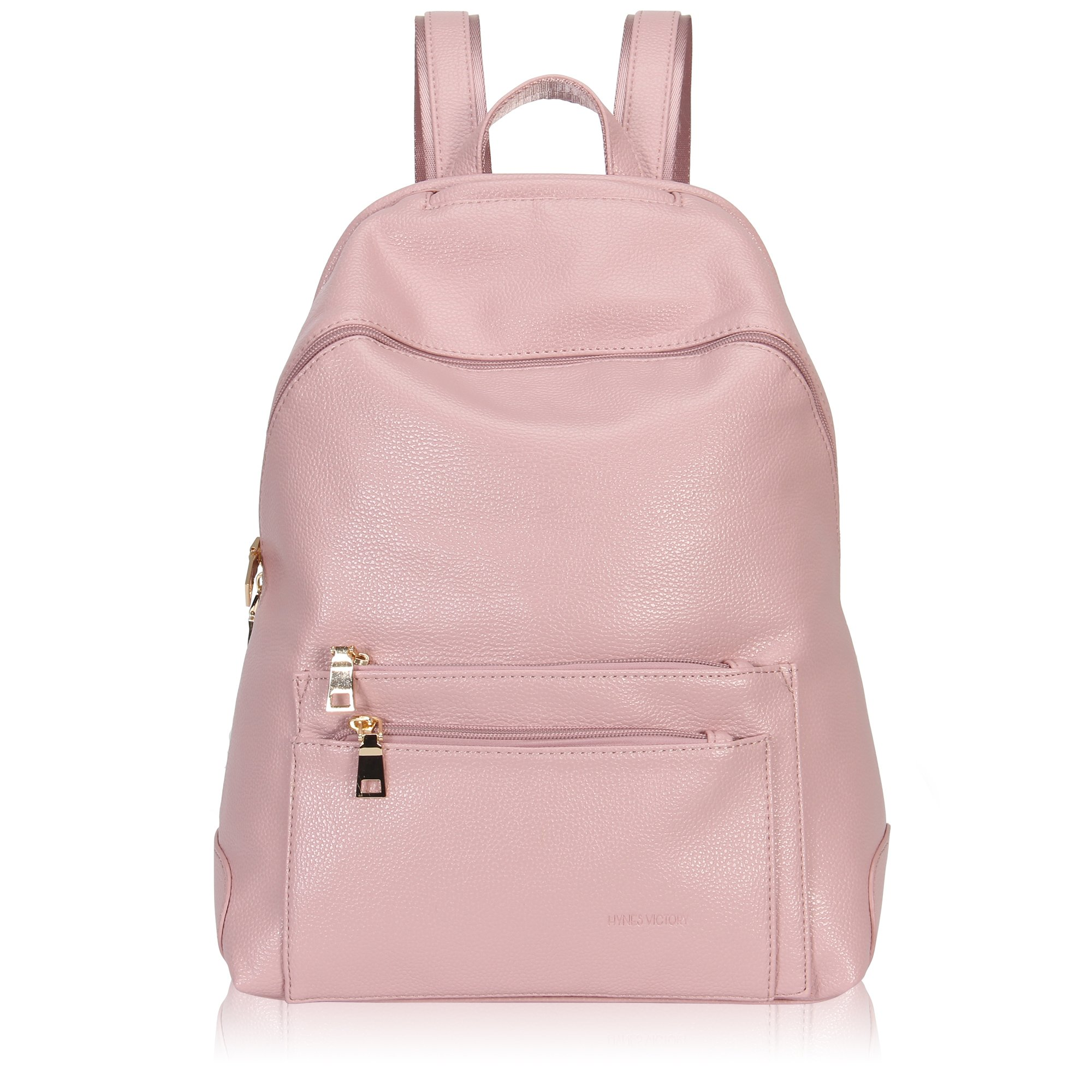 Hynes Victory Faux Leather Backpack for Women Dressy Campus Backpack Purse Lotus Pink by Hynes Victory