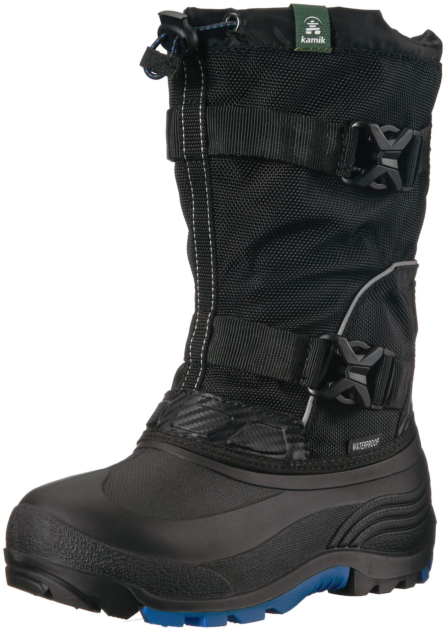 Kamik Boys' GLACIAL2 Snow Boot Black/Blue 4 Medium US Big Kid
