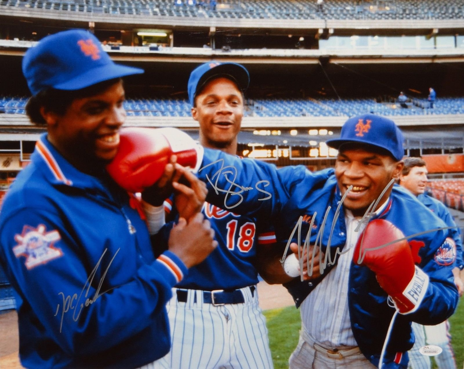 Mike Tyson Doc Gooden Darryl Strawberry Autographed 16x20 Color Photo JSA W Auth