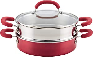 Rachael Ray 12158 3-Piece Aluminum Steamer Set, Red Shimmer