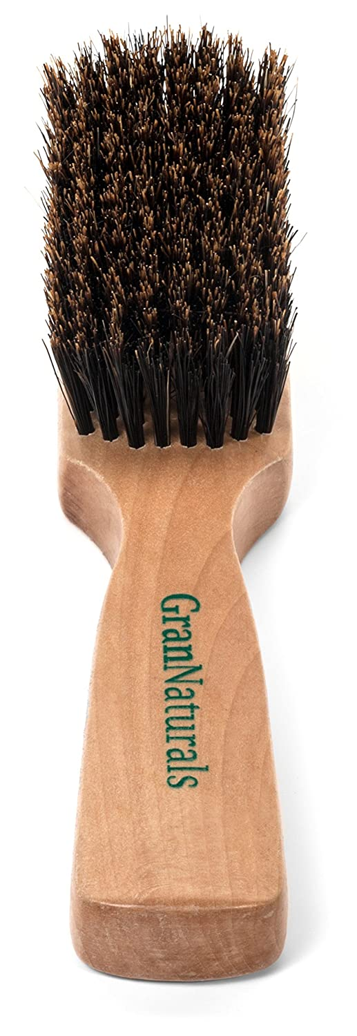 GranNaturals Mens Boar Bristle Hair Brush - Natural Wooden Club Style Wave Brush for Men - Styling Beard Hairbrush for Fine, Thin or Thick Hair