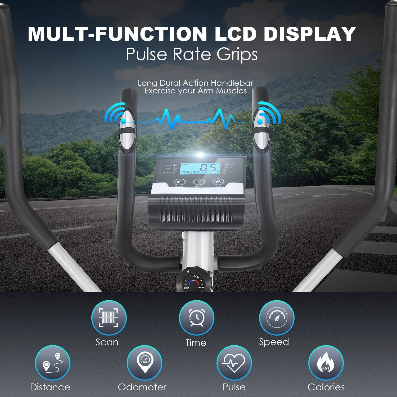 ANCHEER Ellipsentrainer mit Pulsfrequenz-Griffen - Trainingscomputer