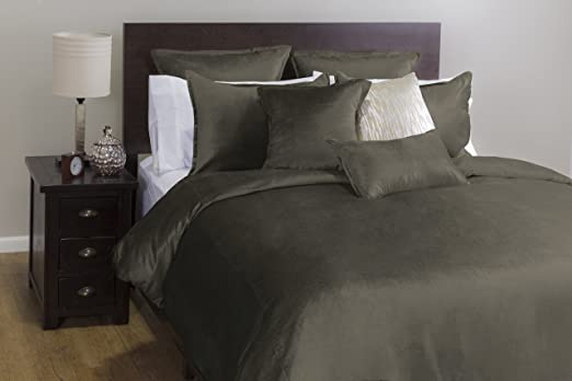 New West Elm Flannel Queen Duvet Cover and shams 3pc Graphite Gray