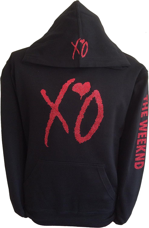 XO the weekend hoodie hooded sweatshirt red glitter design sweatshirt