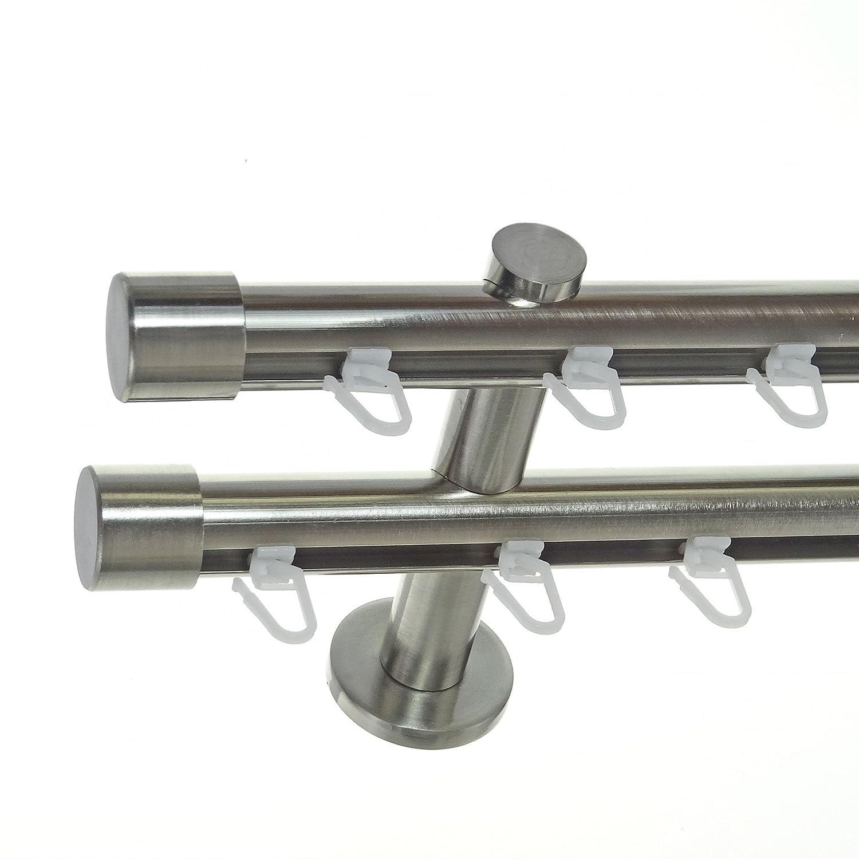 Innenlauf Gardinenstange Edelstahl Look 20mm Wandträger 2-läufig Kappe, Länge wählbar H40 E30E30, Länge 280 cm