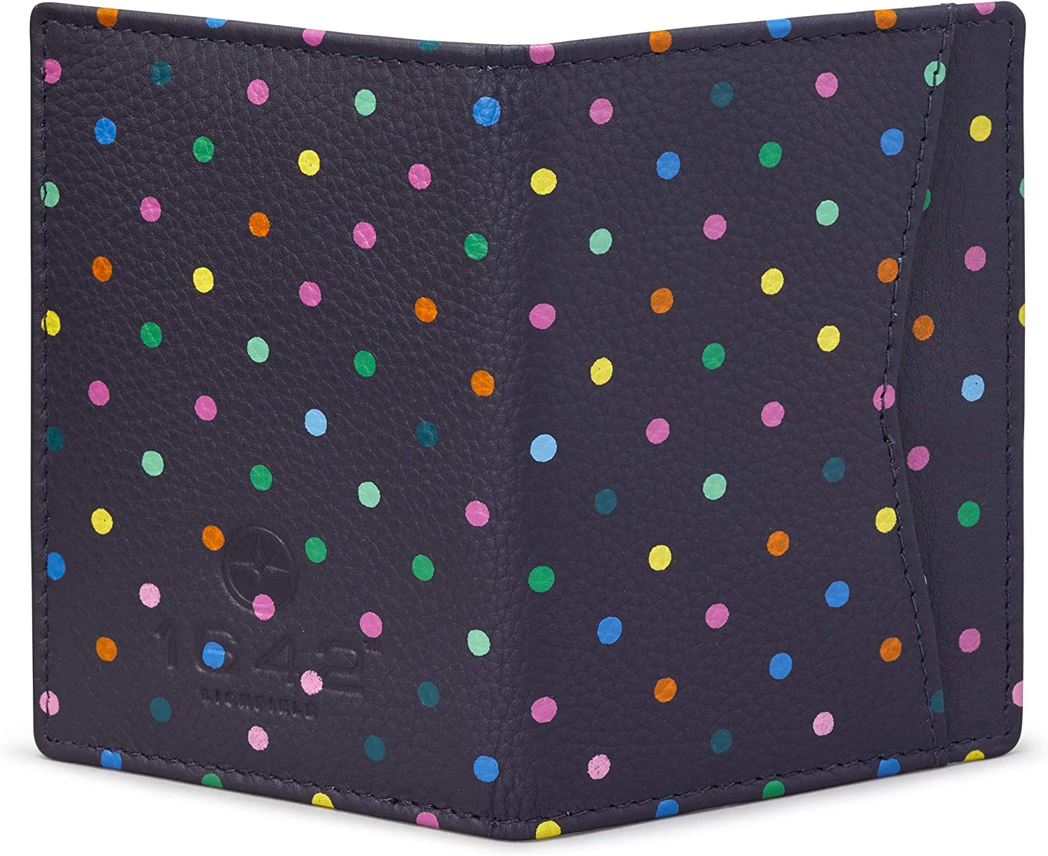 Polka Dot Leather Oyster Card Holder//Travel Pass Holder by 1642 Navy