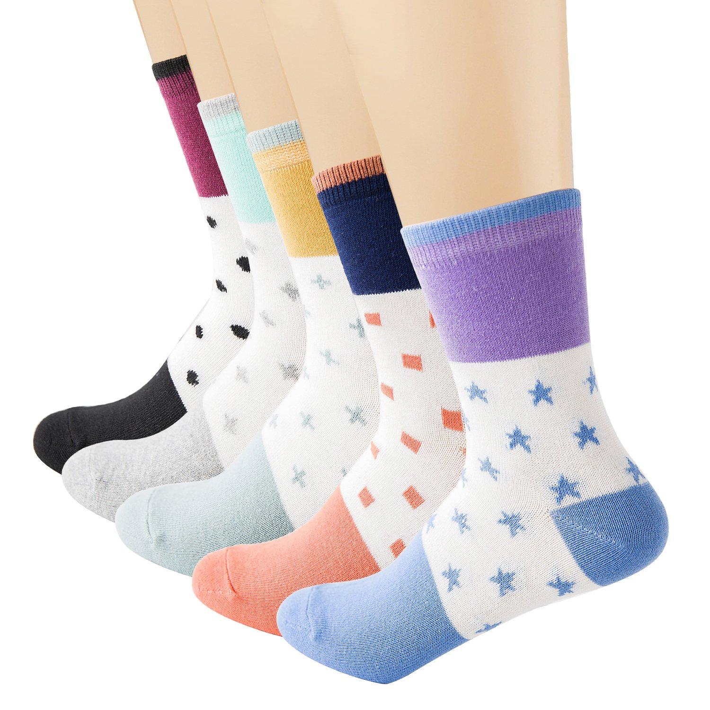 Vxock Womens Athletic Cotton Crew Running Socks Multicolor-5 Pack